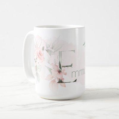 Delicate Blush Pink Rose Monogram Letter E Coffee Mug