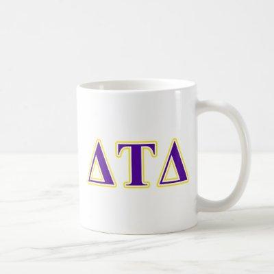 Delta Tau Delta Yellow and Purple Letters Coffee Mug