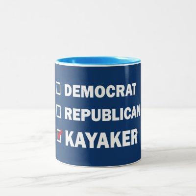 Democrat Republican Kayaker Two-Tone Coffee Mug