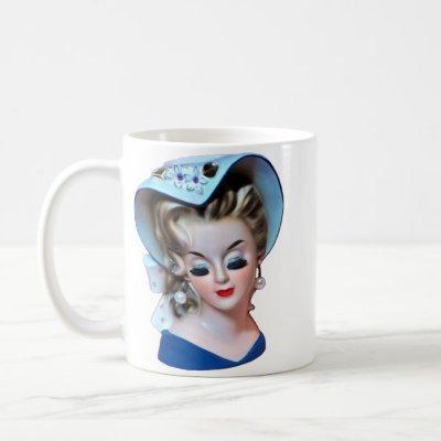 Demure Southern Belle Head Vase Bonnet Lady Coffee Mug
