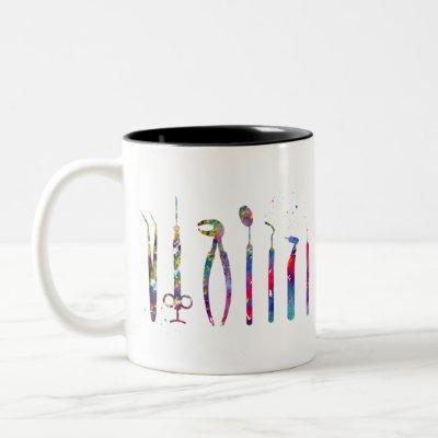 Dentist Tools Two-Tone Coffee Mug