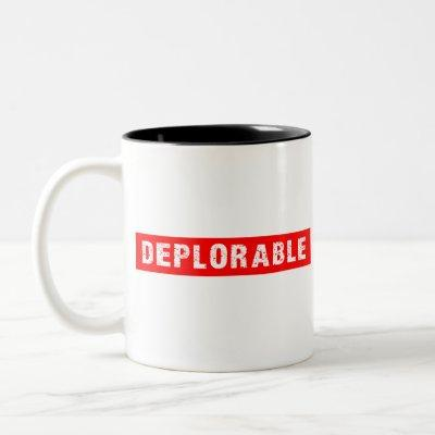 DEPLORABLE White on Red Two-Tone Coffee Mug