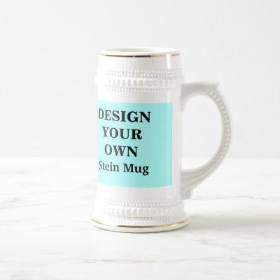 Design Your Own Stein Mug - Light Blue and White