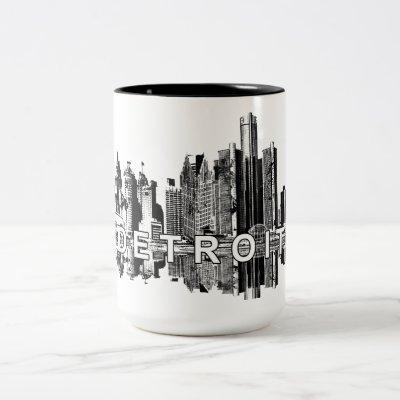 Detroit, Michigan in black ink Two-Tone Coffee Mug