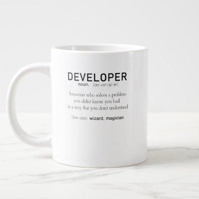 Developer Definition Coder Definition Funny Giant Coffee Mug