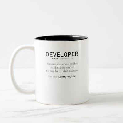 Developer Definition Coder Definition Funny Two-Tone Coffee Mug