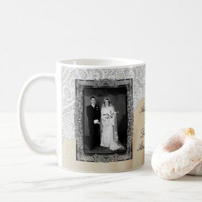 Diamond 60th Elegant Photo Wedding Anniversary Coffee Mug