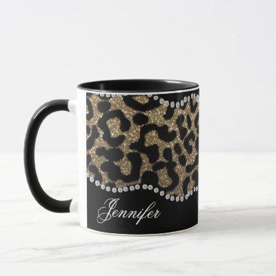 Diamond and Leopard with Name Mug