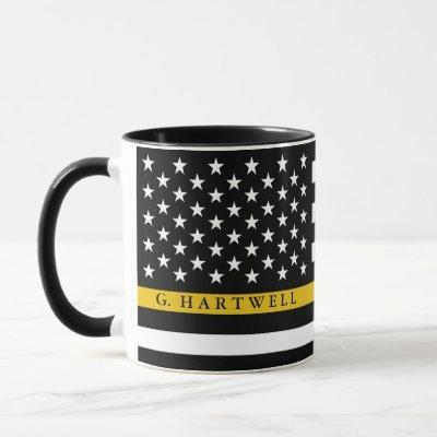 Dispatcher Styled American Flag Custom Name Mug