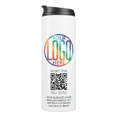 DIY Color Your Business Logo & QR Code Stainless Thermal Tumbler