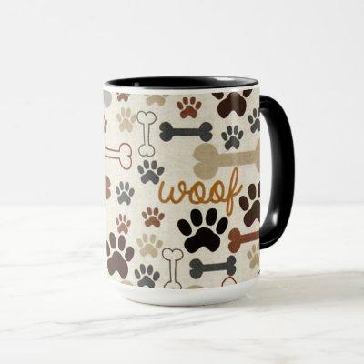 Dog Bones and Paws Coffee Mug