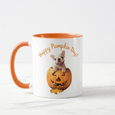 Dog in Jack-o-Lantern Mug