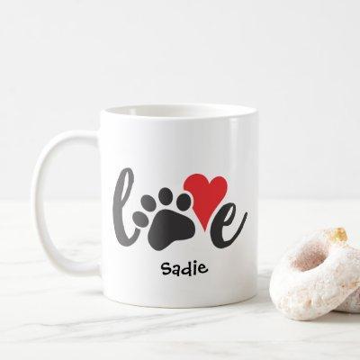 Dog Love Pet Paw Print & Heart Custom Name Coffee Mug