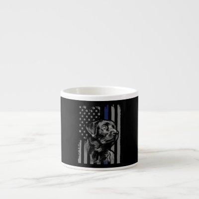 Dog Lover | Black Labrador American Flag Thin Line Espresso Cup