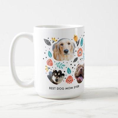 Dog Mom Garden Colorful Floral Pet Photo Collage Coffee Mug