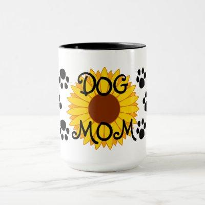 Dog Mom Sunflower Paw Prints Mug
