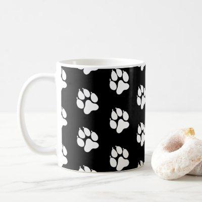Dog paw - Weis - black Coffee Mug