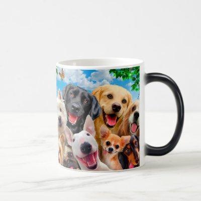 Dogs take group selfie magic mug