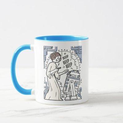 Doodle Sketch Leia & R2-D2 on Death Star Mug
