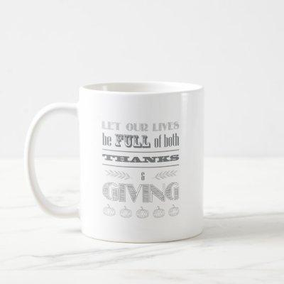 Double-Sided Both Thanks and Giving Typography Coffee Mug