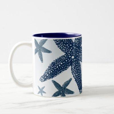Down by the Sea Starfish Two-Tone Coffee Mug