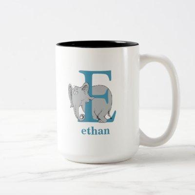 Dr. Seuss's ABC: Letter E - Blue | Add Your Name Two-Tone Coffee Mug