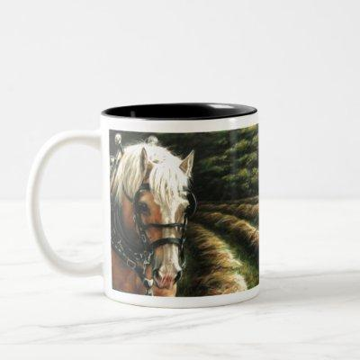 Draft horse making hay Two-Tone coffee mug