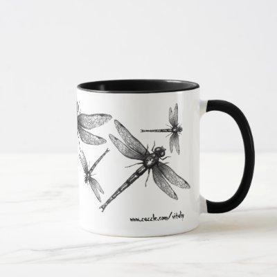 Dragonfly ink drawing art mug design