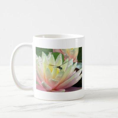 Dragonfly on a waterlily coffee mug