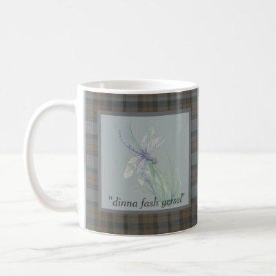 Dragonfly Watercolor Fraser Clan Tartan Quote Coffee Mug