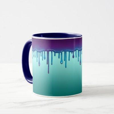 Dripping colorful paint. mug