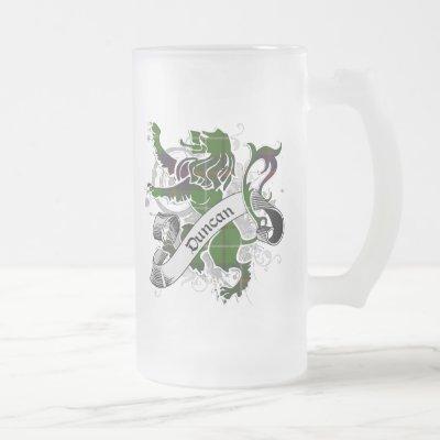 Duncan Tartan Lion Frosted Glass Beer Mug