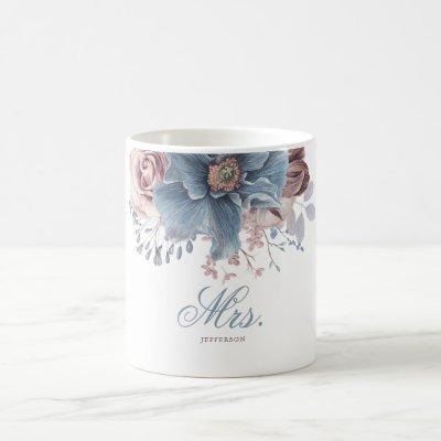 Dusty Blue and Mauve Floral Wedding MRS or MR's Coffee Mug
