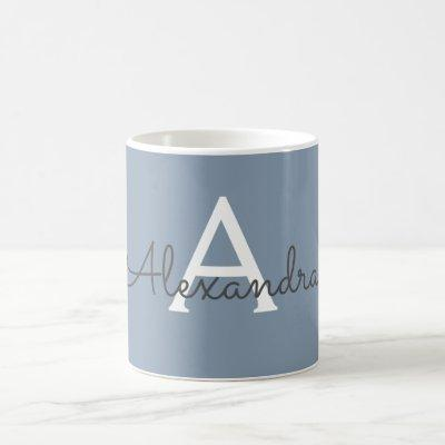Dusty Blue and White Monogram Name & Initial Coffee Mug