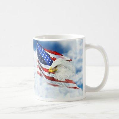 Eagle Scouting the Sky as American Flag Waves Coffee Mug