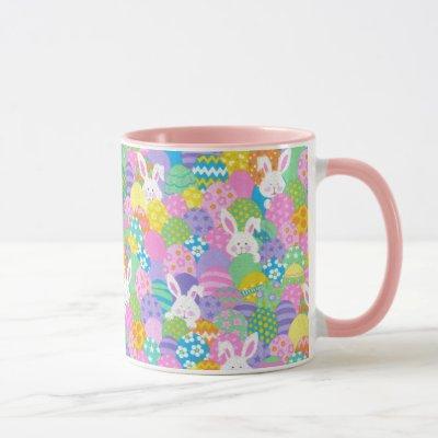 EASTER Bunny Hiding Eggs Cute Pink Gift Coffee Mug