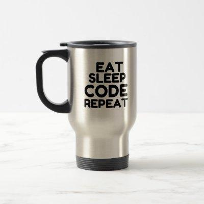 EAT SLEEP CODE REPEAT TRAVEL MUG