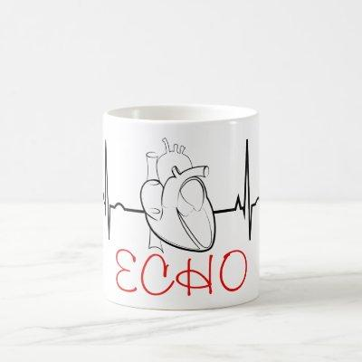 Echo Coffee Mug with EKG and Realistic Heart