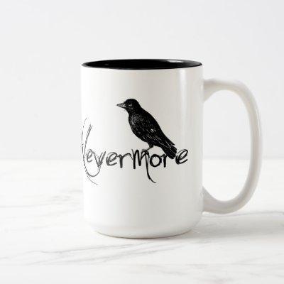 Edgar Allen Poe Raven Nevermore Halloween Two-Tone Coffee Mug