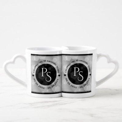 Elegant 10th Tin Wedding Anniversary Celebration Coffee Mug Set