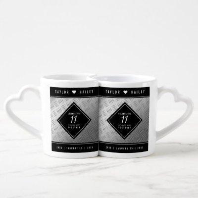 Elegant 11th Steel Wedding Anniversary Celebration Coffee Mug Set