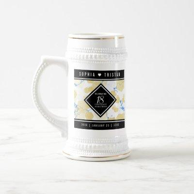 Elegant 18th Porcelain Wedding Anniversary Beer Stein