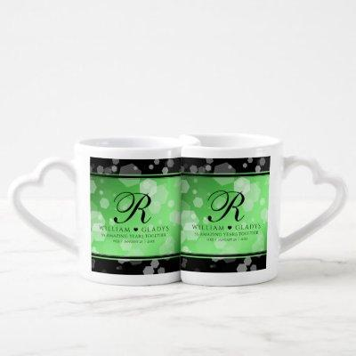 Elegant 20th 38th 55th Emerald Wedding Anniversary Coffee Mug Set