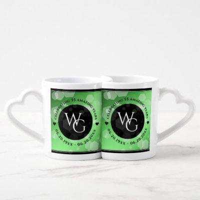 Elegant 20th 38th 55th Emerald Wedding Anniversary Coffee Mug Set
