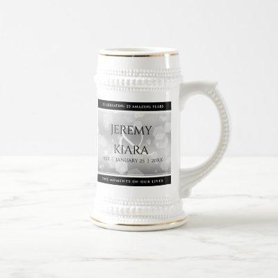 Elegant 25th Silver Wedding Anniversary Beer Stein