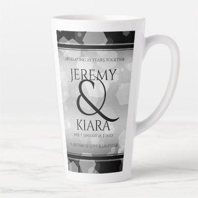 Elegant 25th Silver Wedding Anniversary Latte Mug