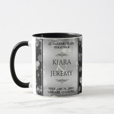 Elegant 25th Silver Wedding Anniversary Mug