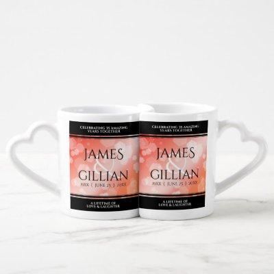 Elegant 35th Coral Wedding Anniversary Celebration Coffee Mug Set