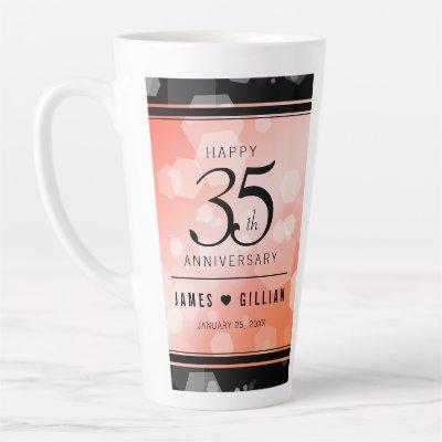Elegant 35th Coral Wedding Anniversary Celebration Latte Mug