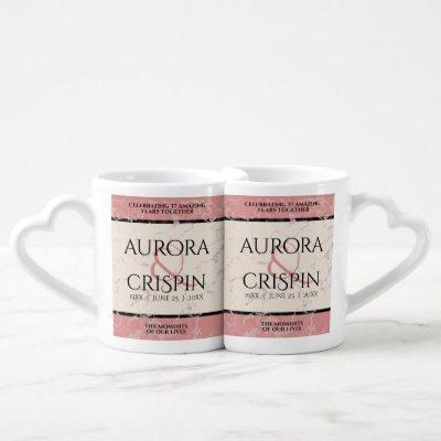 Elegant 37th Alabaster Wedding Anniversary Coffee Mug Set
